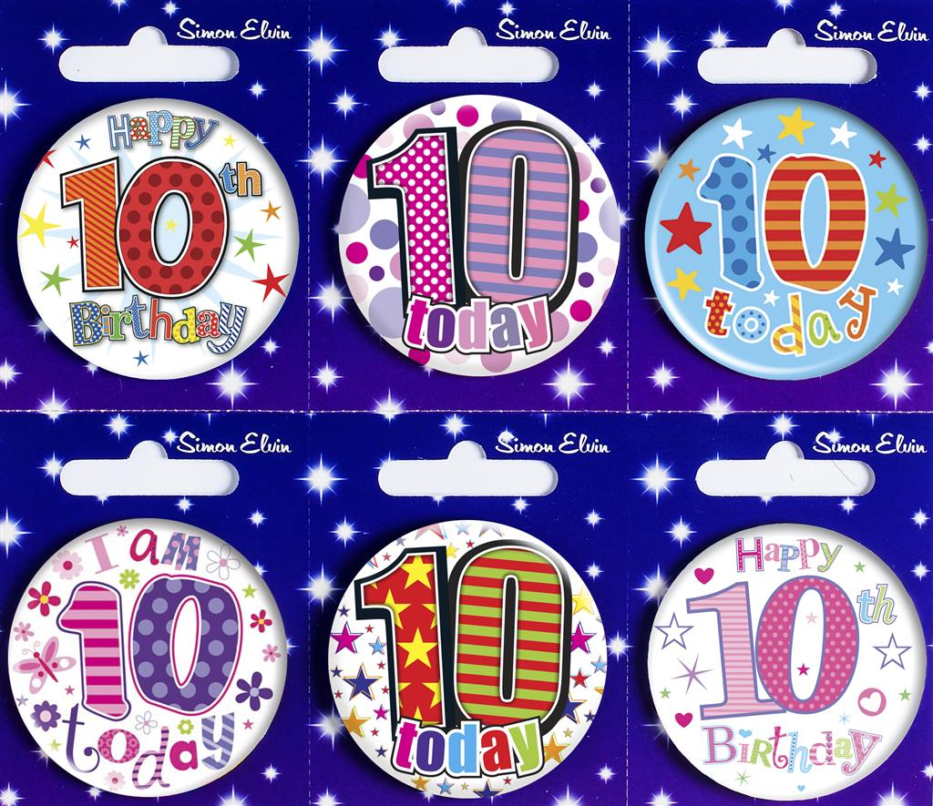 MB13|6pk Small Badges Birthday Age 10 Mix