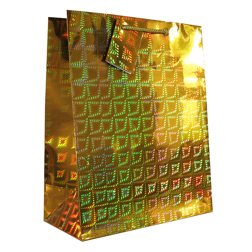6pk Giftbags Extra Large Portrait Holographic Gold