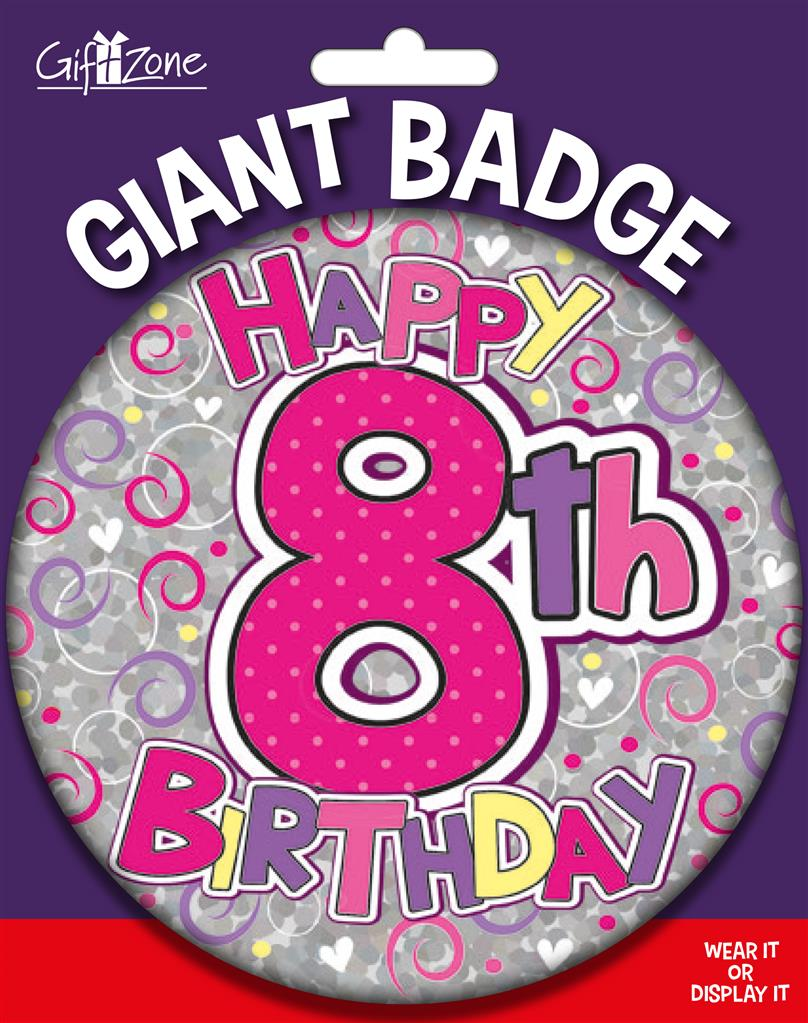 6pk Big Badges Birthday Age 8