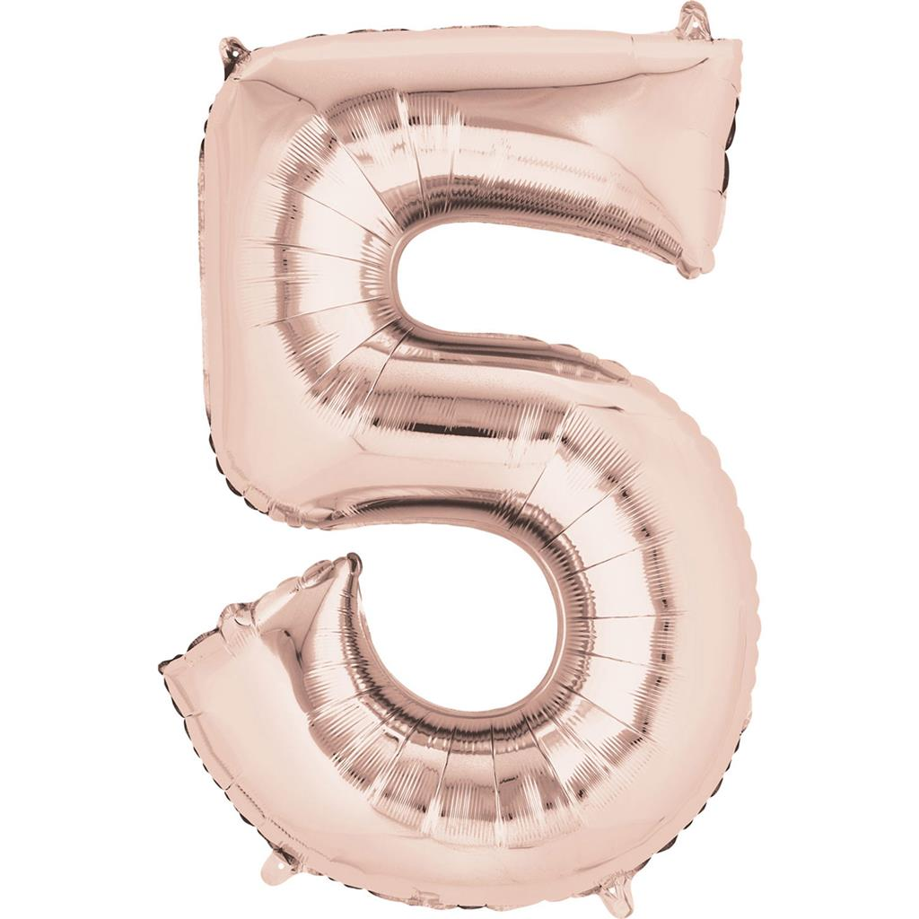 3621601|5pk Foil Balloons Big Numbers Number Rose Gold P50