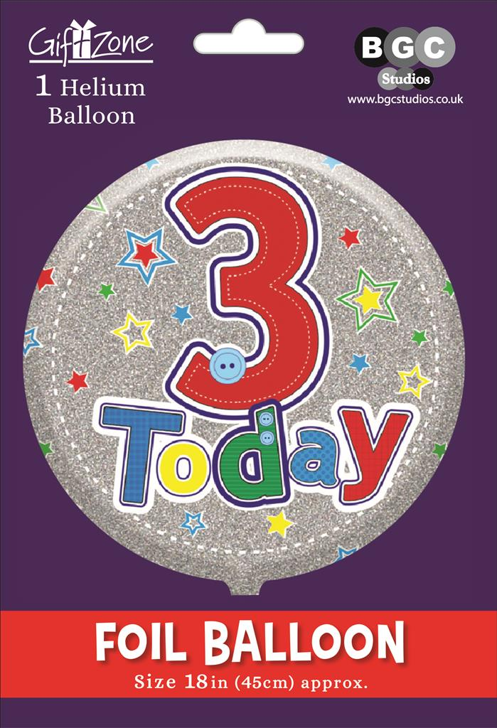5Pk Foil Balloon Birthday Age 3