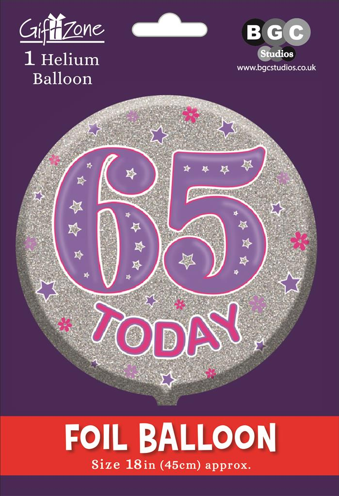 5Pk Foil Balloon Birthday Age 65