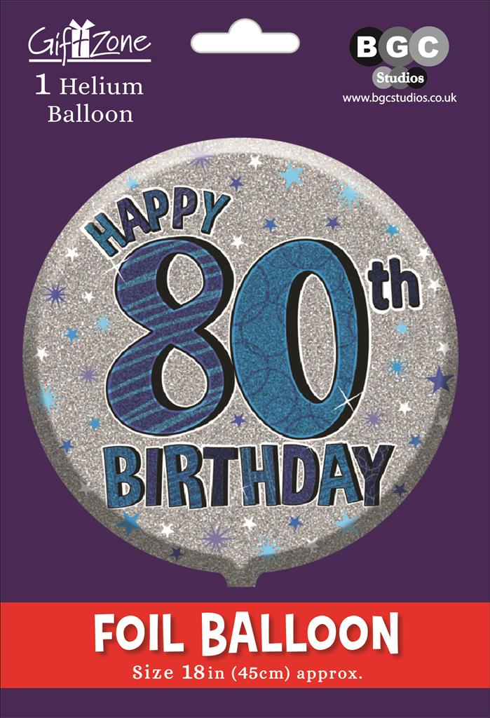 5Pk Foil Balloon Birthday Age 80
