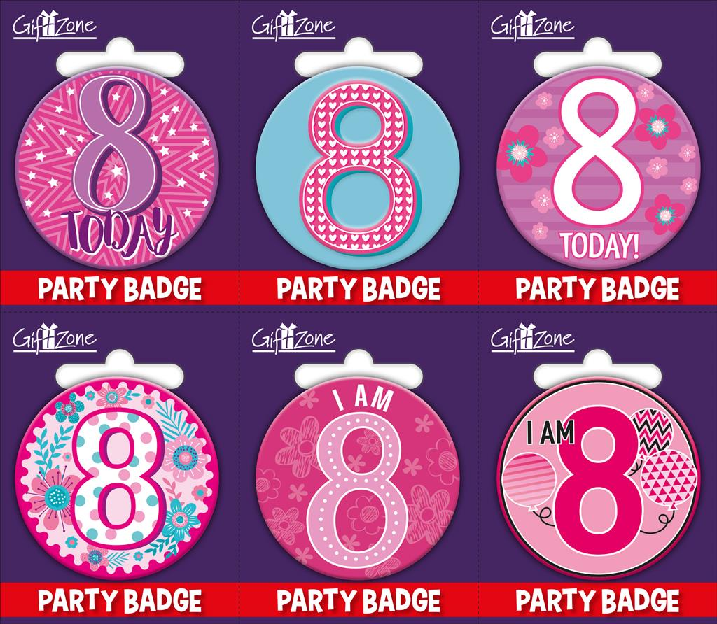 6pk Small Badges Birthday Age 8