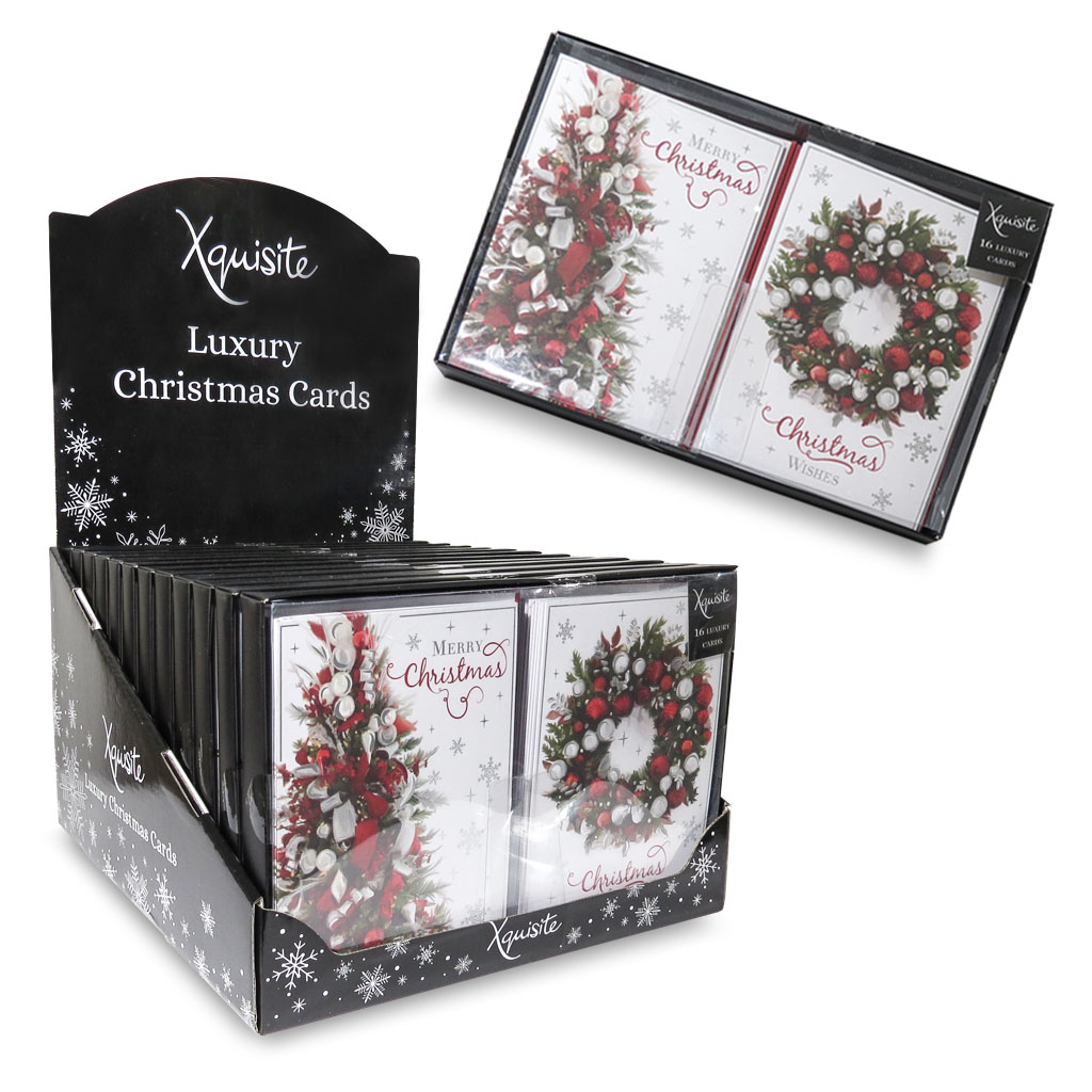 12 x 16pk Boxed Cards Tree & Wreath Christmas