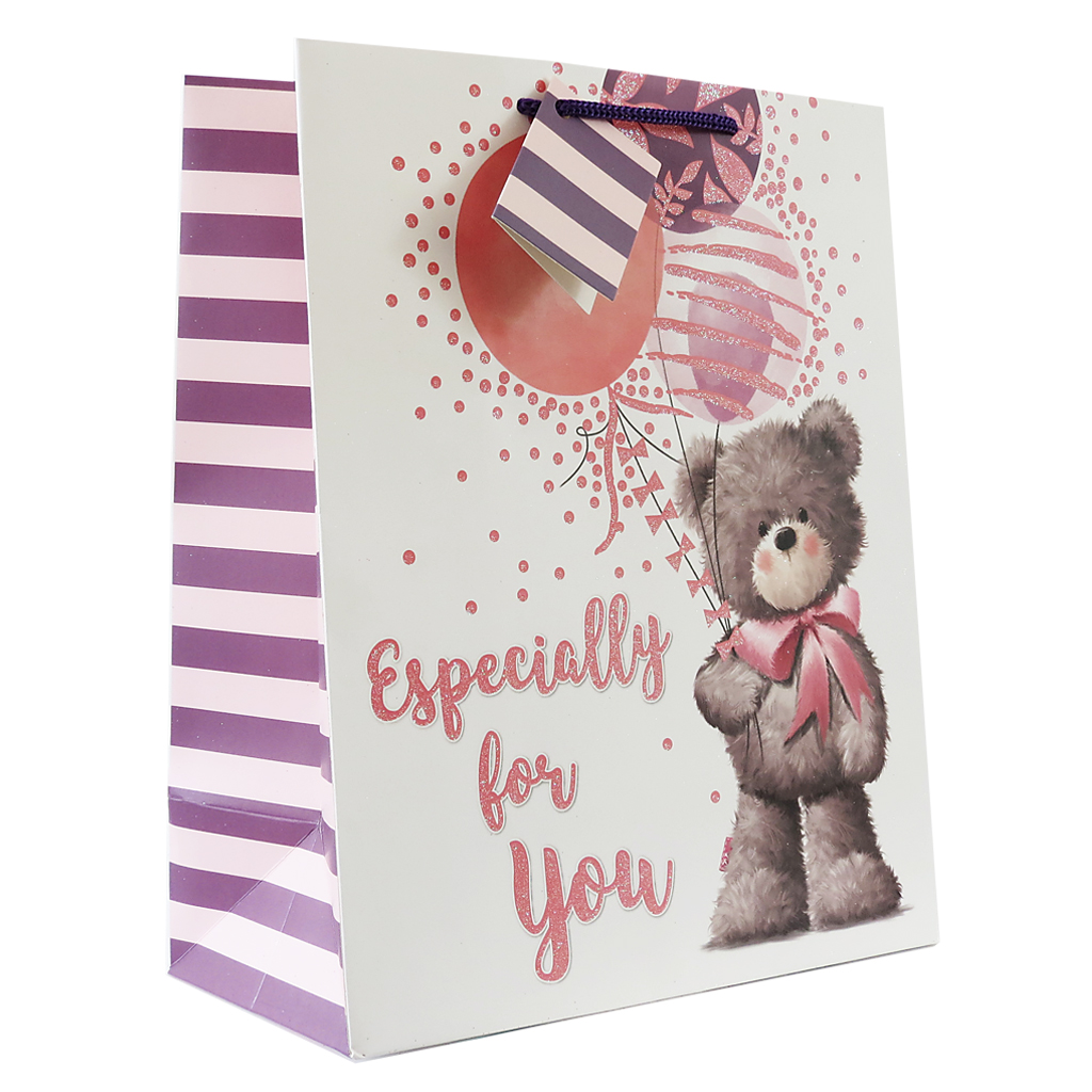 6pk Giftbags Extra Large Portrait Bear With Balloons