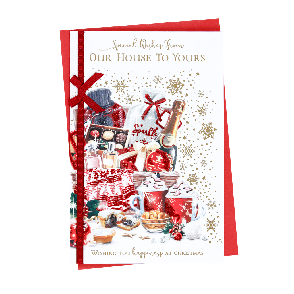 6pk Cards C75 Our House To Your House Christmas