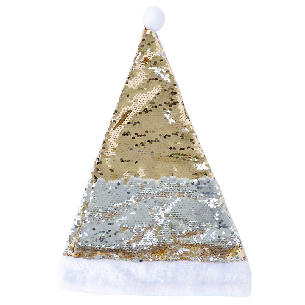 Christmas Hat Sequin Gold To Silver