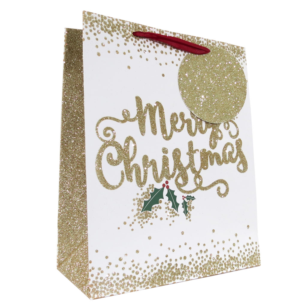 6pk Gift Bags Large Portrait Text Christmas