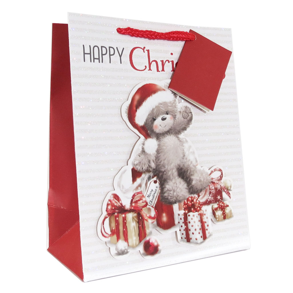 12pk Gift Bags Medium Portrait Bear With Presents Christmas