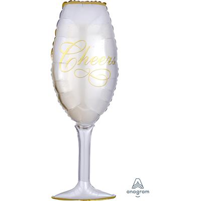 0619501|5pk Foil Balloons Supershape Champagne Glass P30