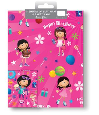 12F2551|12pk Folded Wrap & Tags Birthday Open