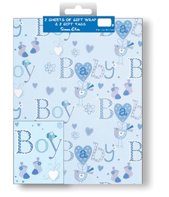 12F2594|12pk Folded Wrap & Tags Birth Congratulations
