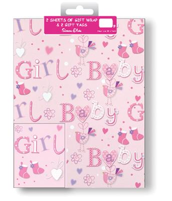12F2595|12pk Folded Wrap & Tags Birth Congratulations