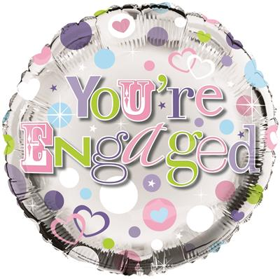 "FB1166|6pk 18"" Printed Foil Balloon Engagement"