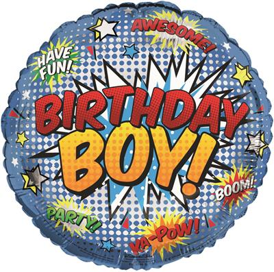 "FB1196|6pk 18"" Printed Foil Balloon Birthday Open"