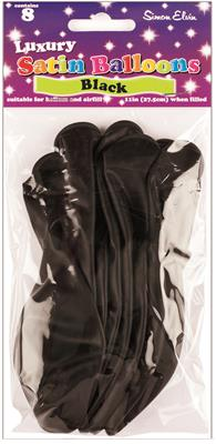 "BAL214|6 x 8pk 10"" Luxury Satin Latex Balloons Black"