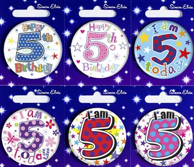 MB08|6pk Small Badges Birthday Age 5 Mix