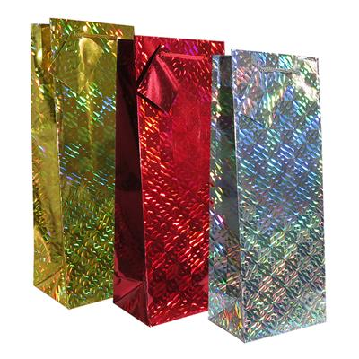 12pk Giftbags Bottle Holographic Assorted