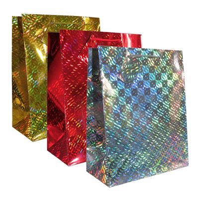 12pk Giftbags Large Portrait Holographic Assorted