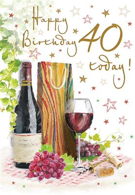 C80286|6pk Cards C75 Birthday Age 40