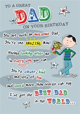 C80348|6pk Cards C75 Birthday Dad