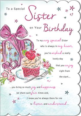 C80559|6pk Cards C75 Birthday Sister