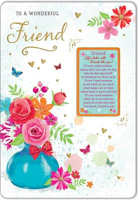C80591|6pk Cards C75 Birthday Friend