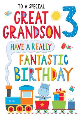 C80584|6pk Cards C75 Birthday Age 3 Great-Grandson
