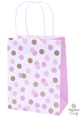15988|6pk x 4 Paper Bags Pink & Gold Dots