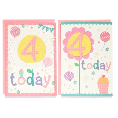 12pk Cards C50 Birthday Age 4