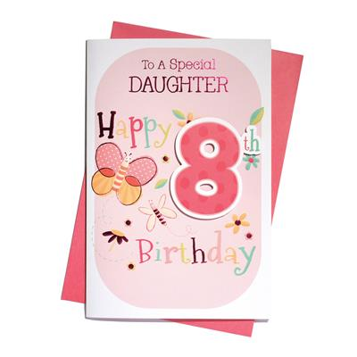 6pk Cards C75 Birthday Age 8 Daughter