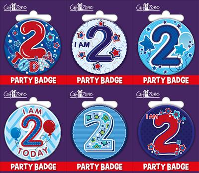6pk Small Badges Birthday Age 2