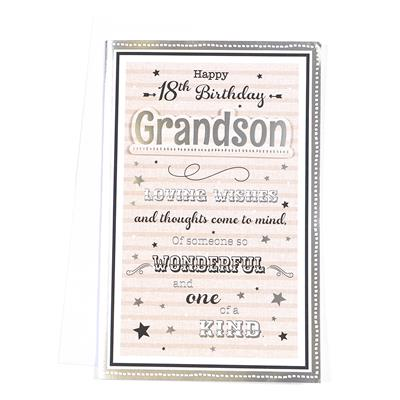 6pk Cards C375 Birthday Age 18 Grandson