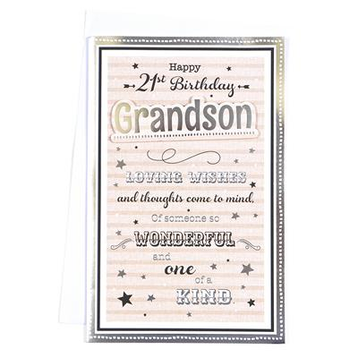 6pk Cards C375 Birthday Age 21 Grandson