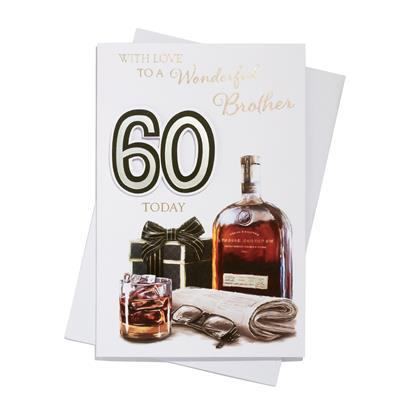 6pk Cards C75 Birthday Age 60 Brother
