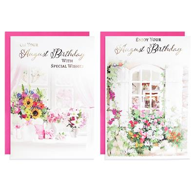 12pk Cards C50 August Birthday