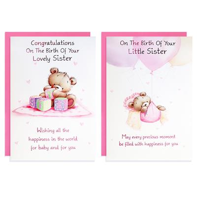 12pk Cards C50 Birth Baby Sister