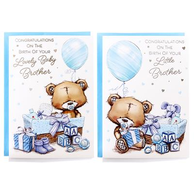 12pk Cards C50 Birth Baby Brother