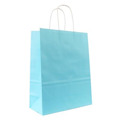 50pk Kraft Bag 180x80x240mm Light Blue