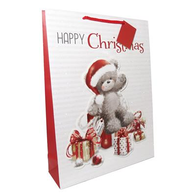12pk Gift Bags Extra Large Portrait Bear With Presents Christmas